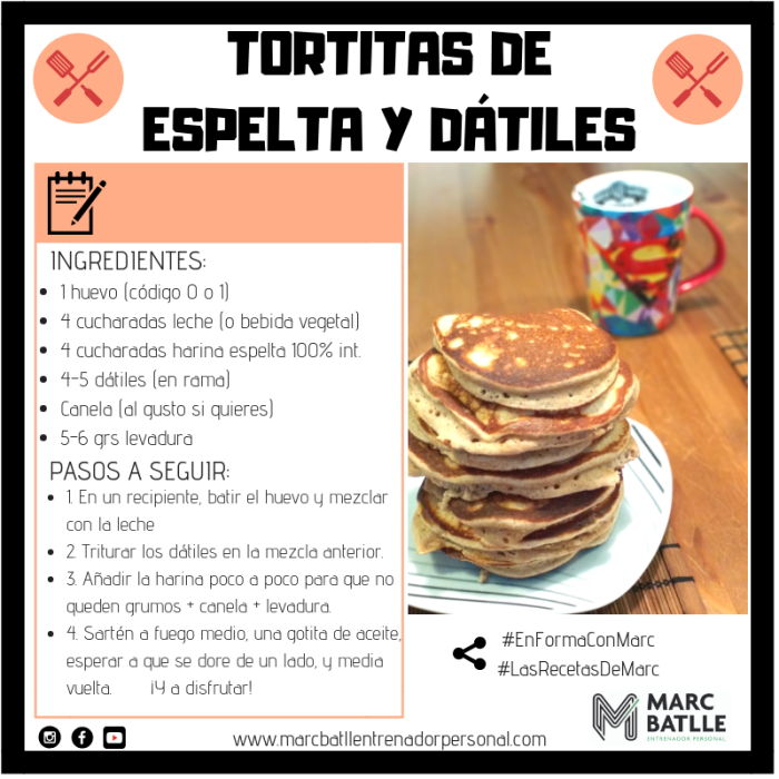 Tortitas de espelta y dátiles